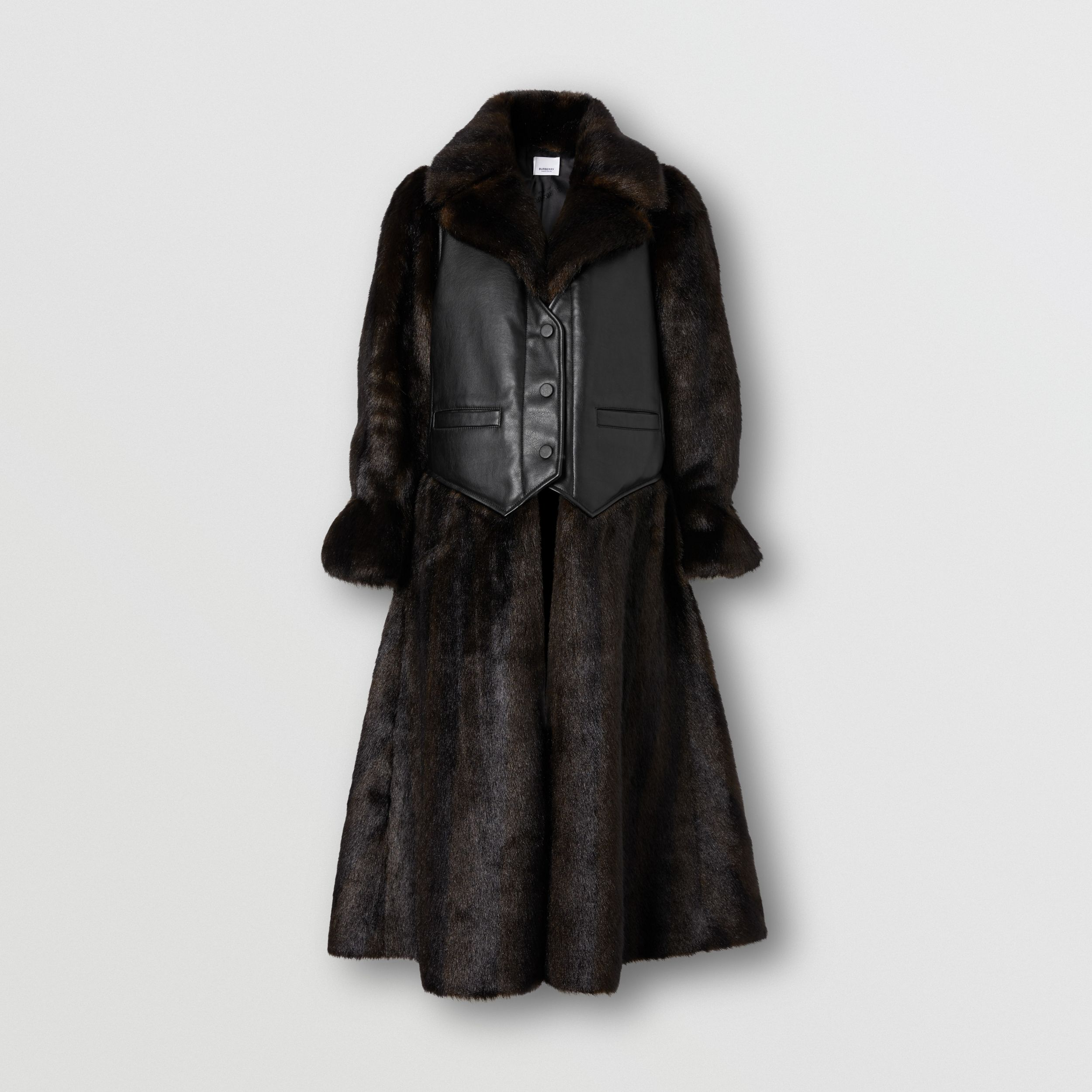 Waistcoat Detail Faux Fur Coat in Black - Women | Burberry - 4