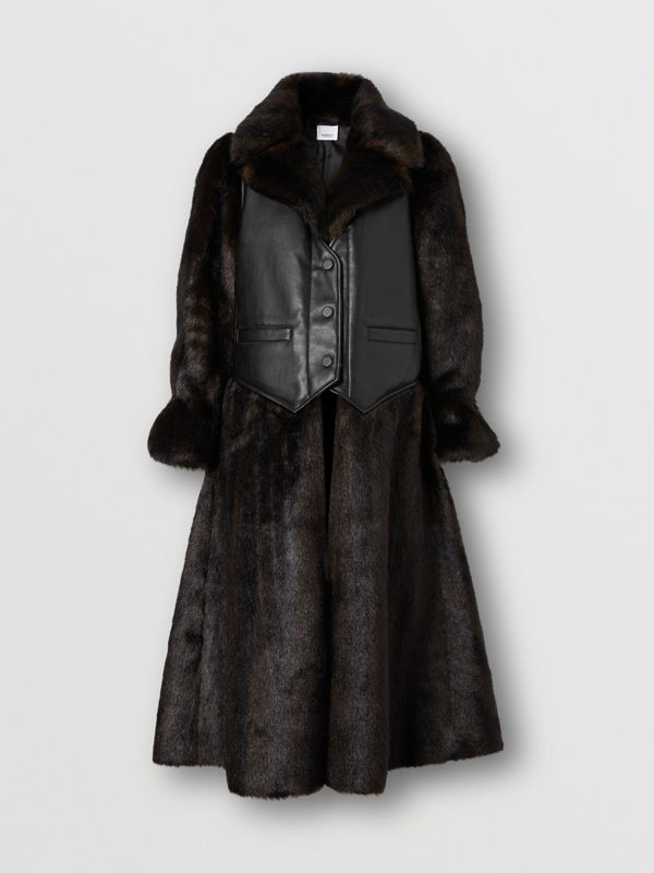 Waistcoat Detail Faux Fur Coat in Black - Women | Burberry - cell image 3