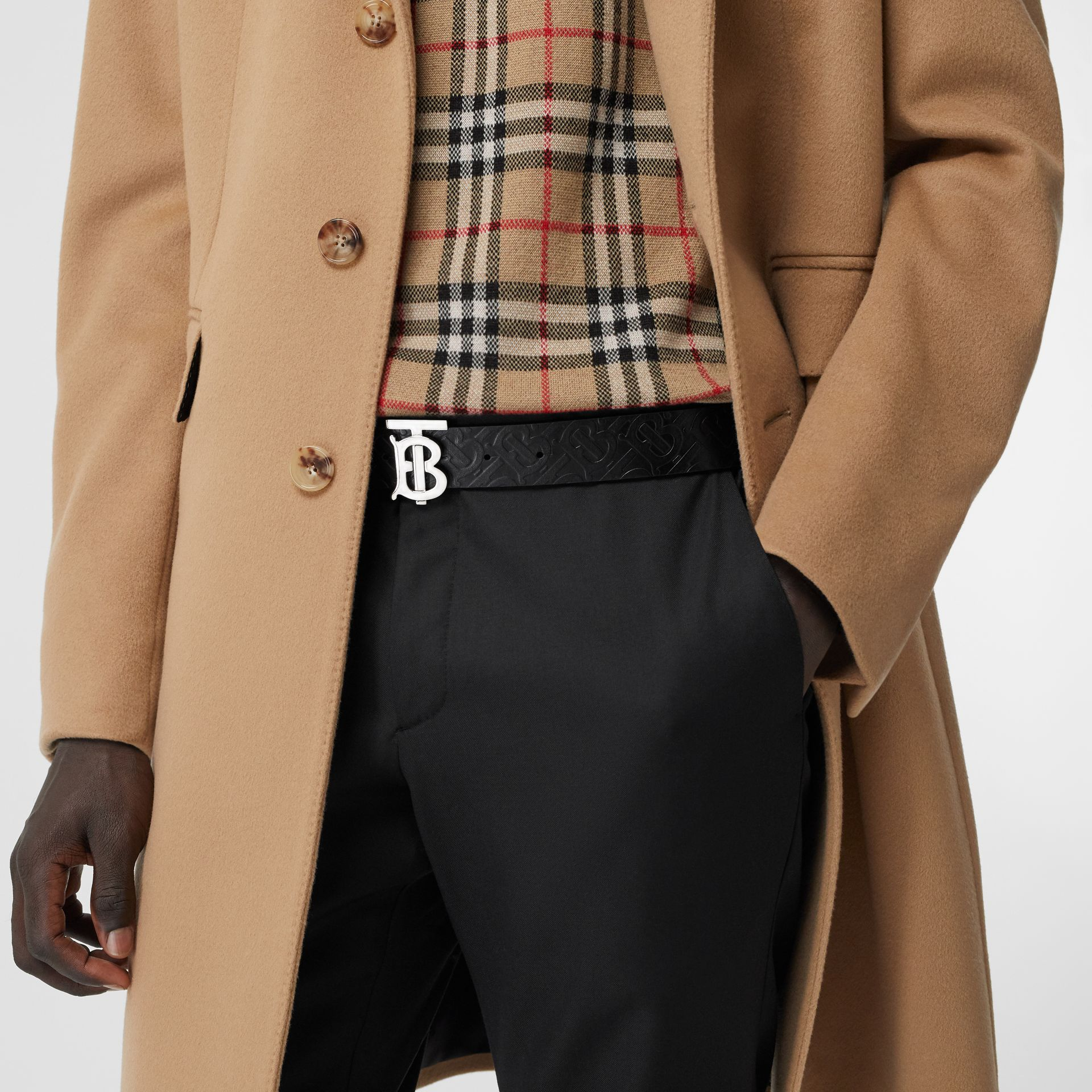 Monogram Motif Monogram Leather Belt in Black - Men | Burberry Canada - gallery image 2
