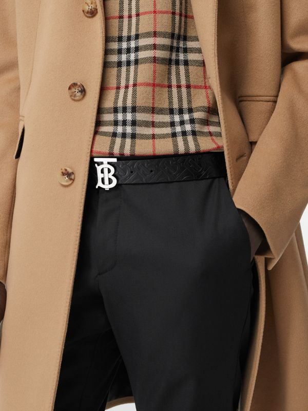 Monogram Motif Monogram Leather Belt in Black - Men | Burberry Canada - cell image 2