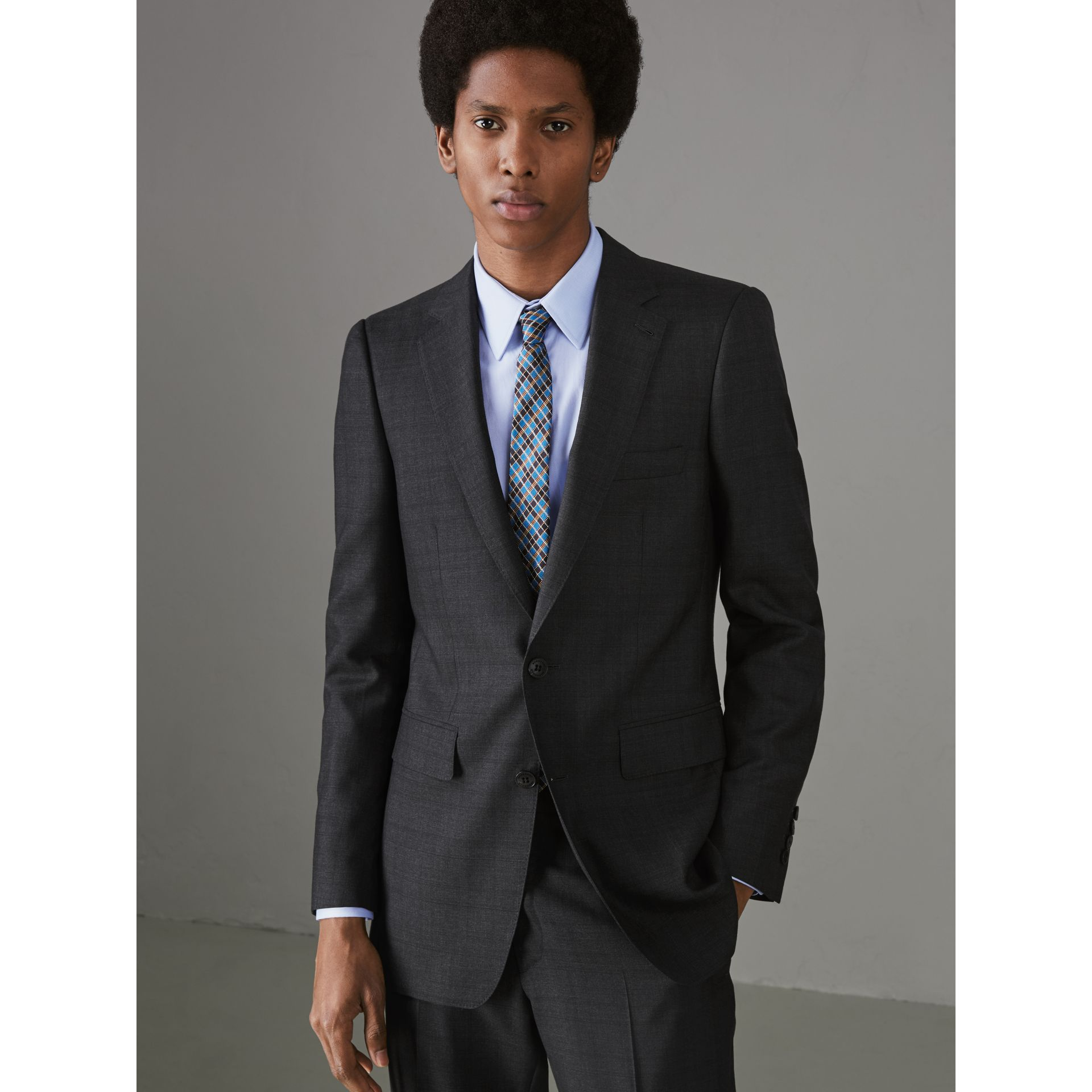 Slim Fit Prince of Wales Check Wool Silk Suit in Charcoal Melange - Men | Burberry United Kingdom - gallery image 5