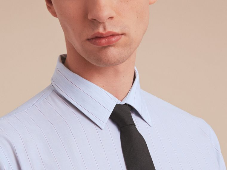 Modern Fit Cotton Linen Striped Shirt in Pale Opal Blue - Men | Burberry Hong Kong - cell image 4