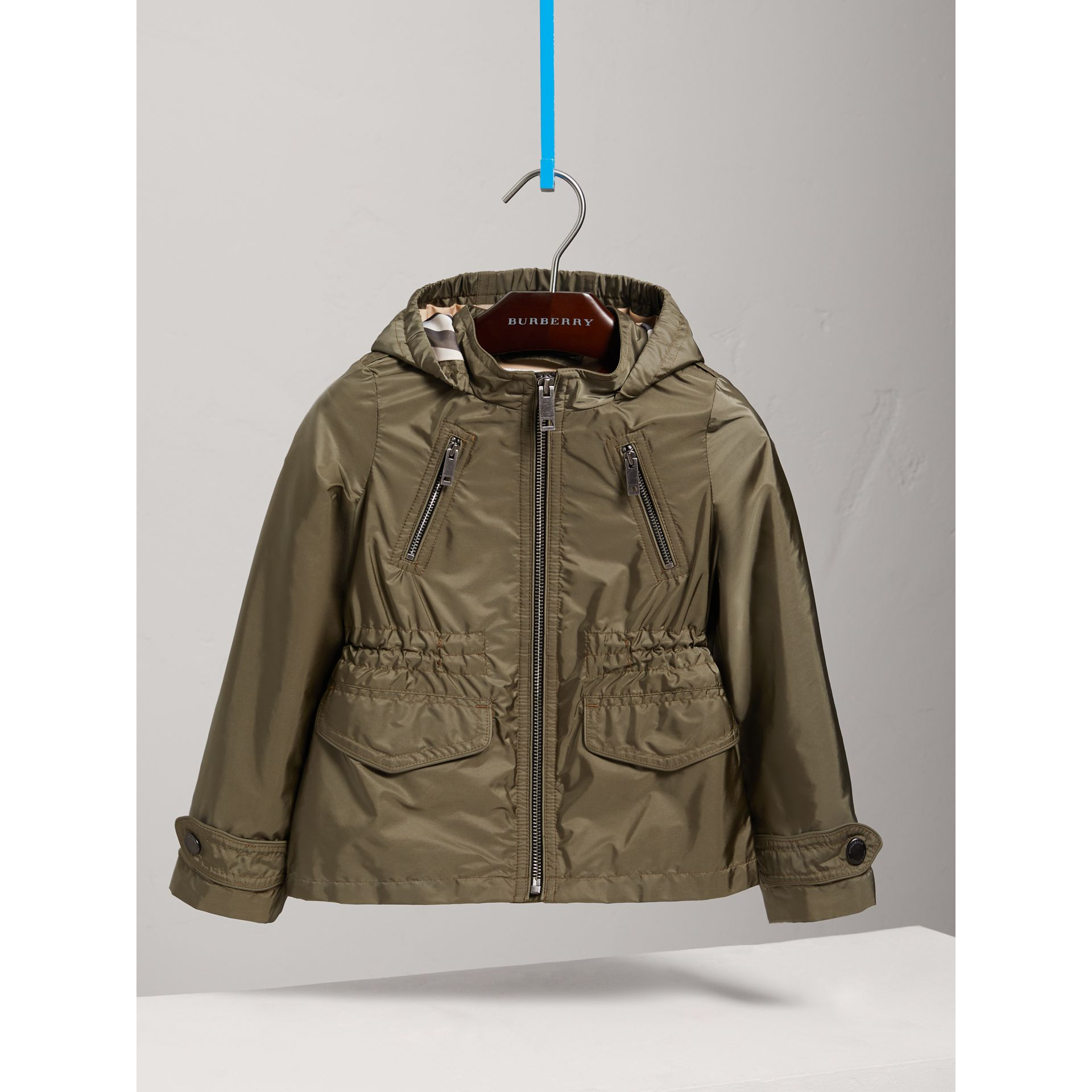 Hooded Packaway Technical Jacket in Olive - Girl | Burberry Canada - gallery image 0
