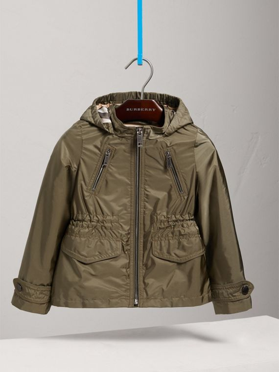Hooded Packaway Technical Jacket in Olive