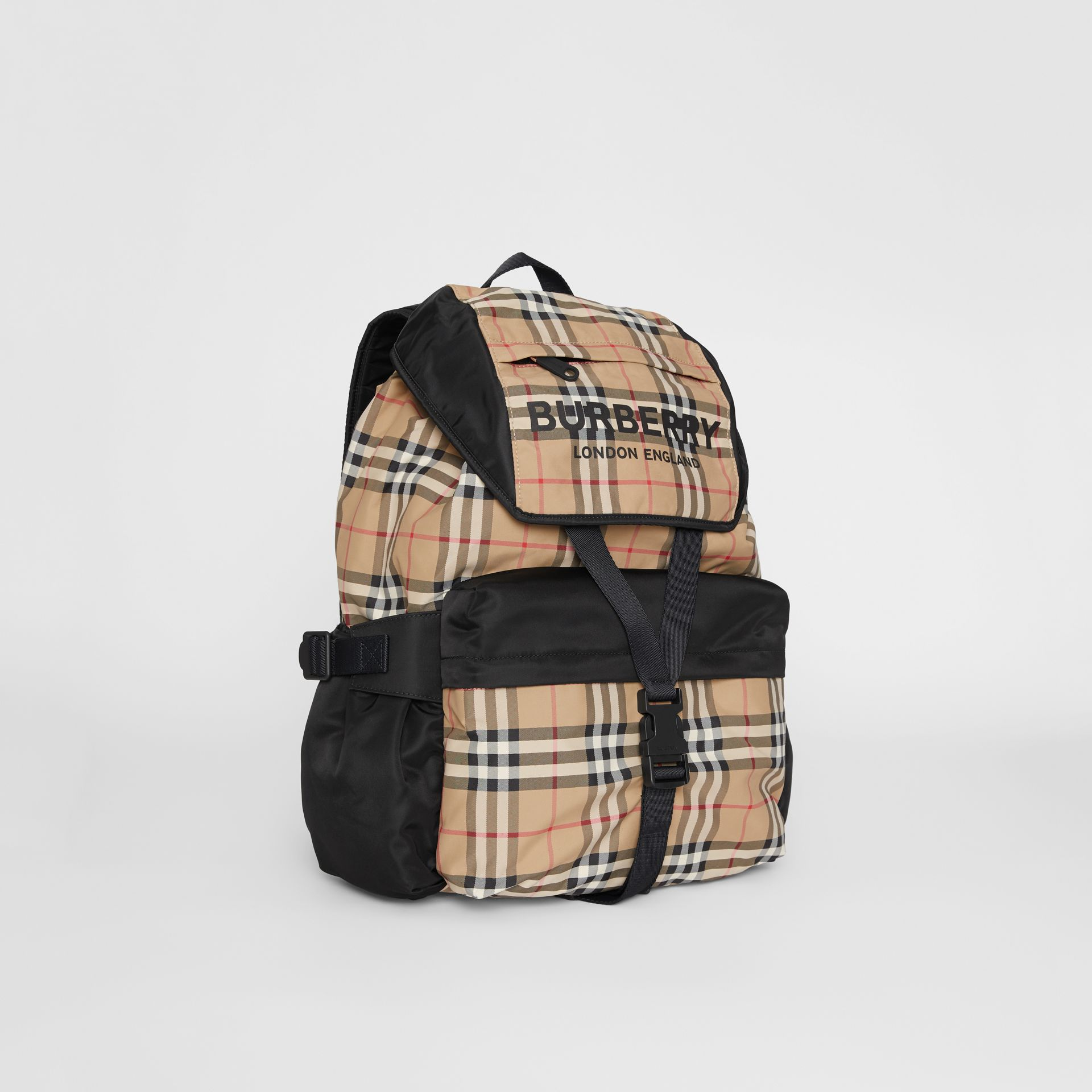 Logo Print Vintage Check Backpack in Archive Beige - Women | Burberry Singapore - gallery image 6