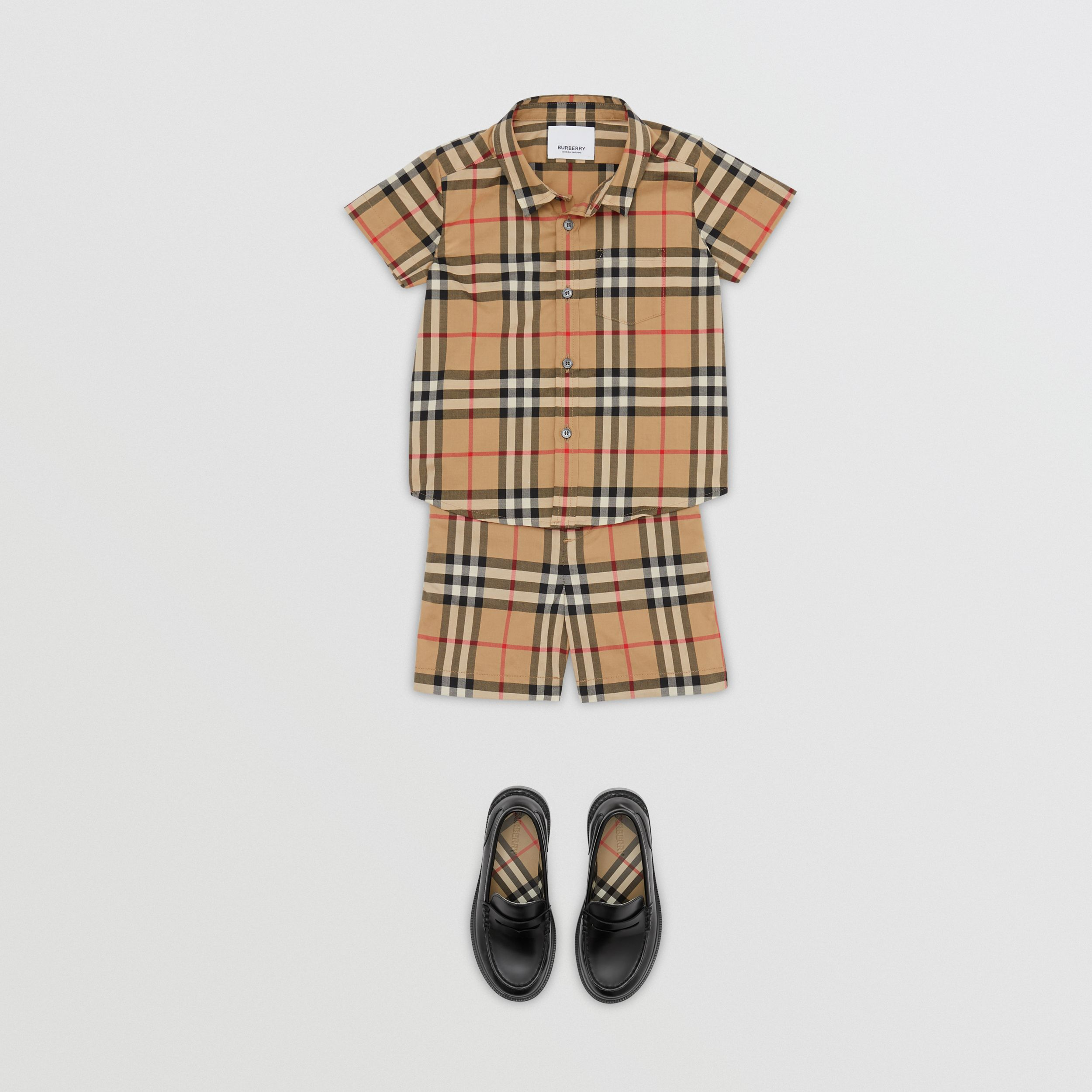 Short-sleeve Vintage Check Cotton Shirt in Archive Beige - Children | Burberry - 3