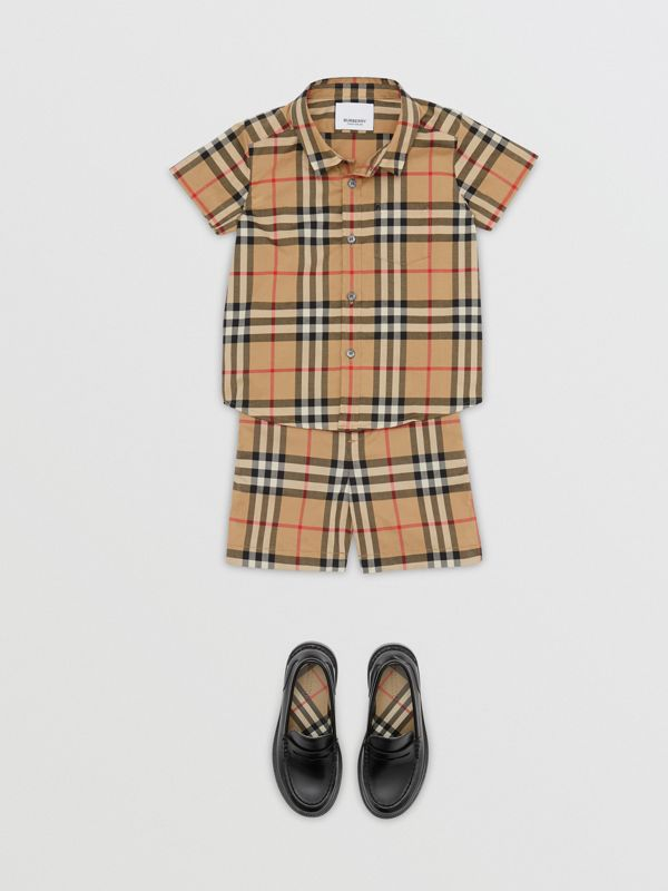 Short-sleeve Vintage Check Cotton Shirt in Archive Beige - Children | Burberry Australia - cell image 2