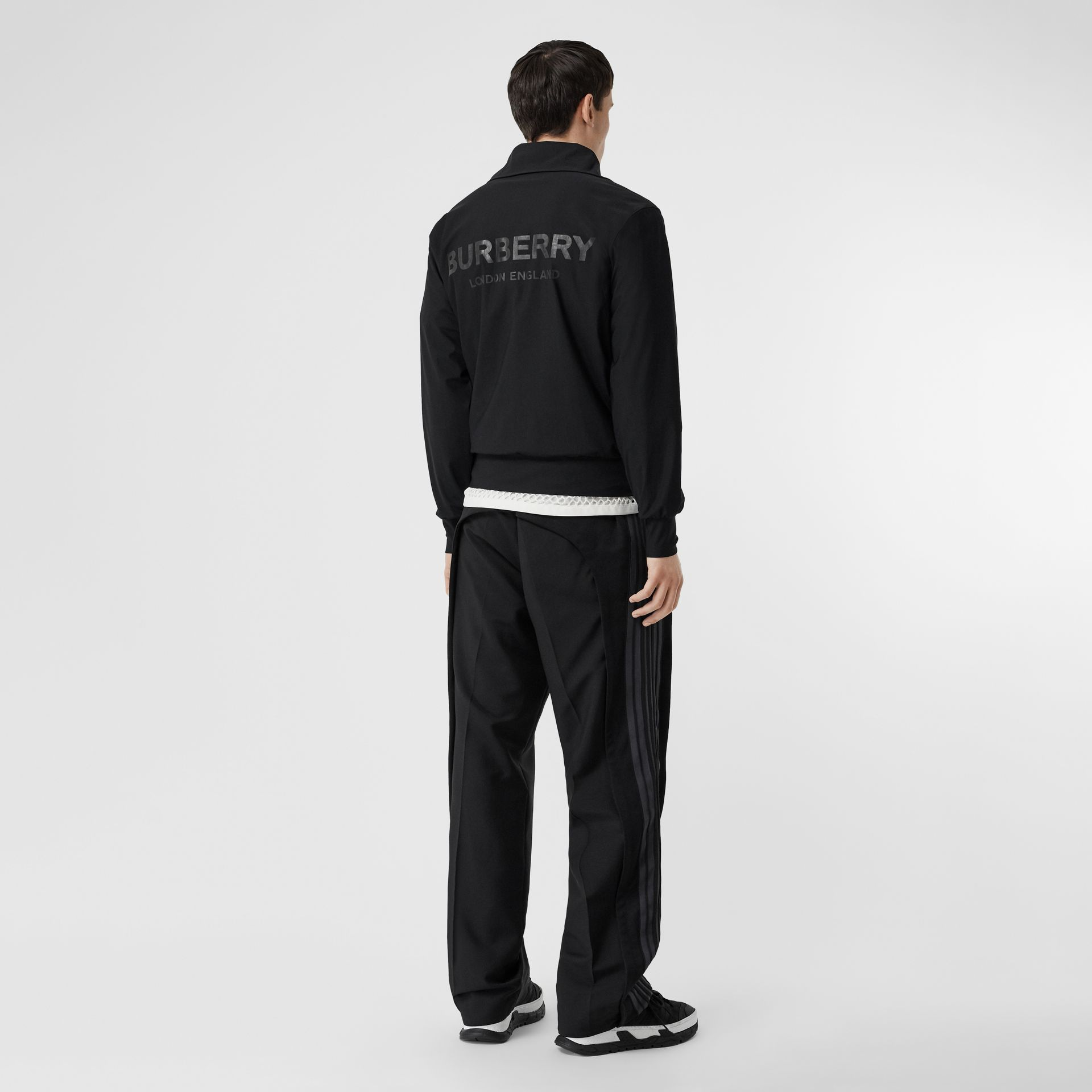 Logo Print Funnel Neck Track Top in Black - Men | Burberry - gallery image 0