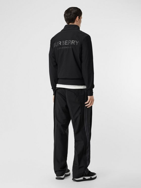 Logo Print Funnel Neck Track Top in Black