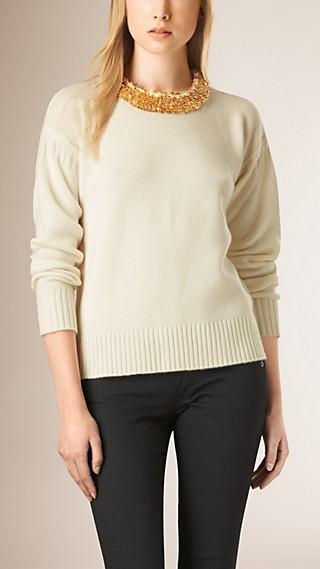 Sequin Detail Wool Cashmere Crew Neck Sweater