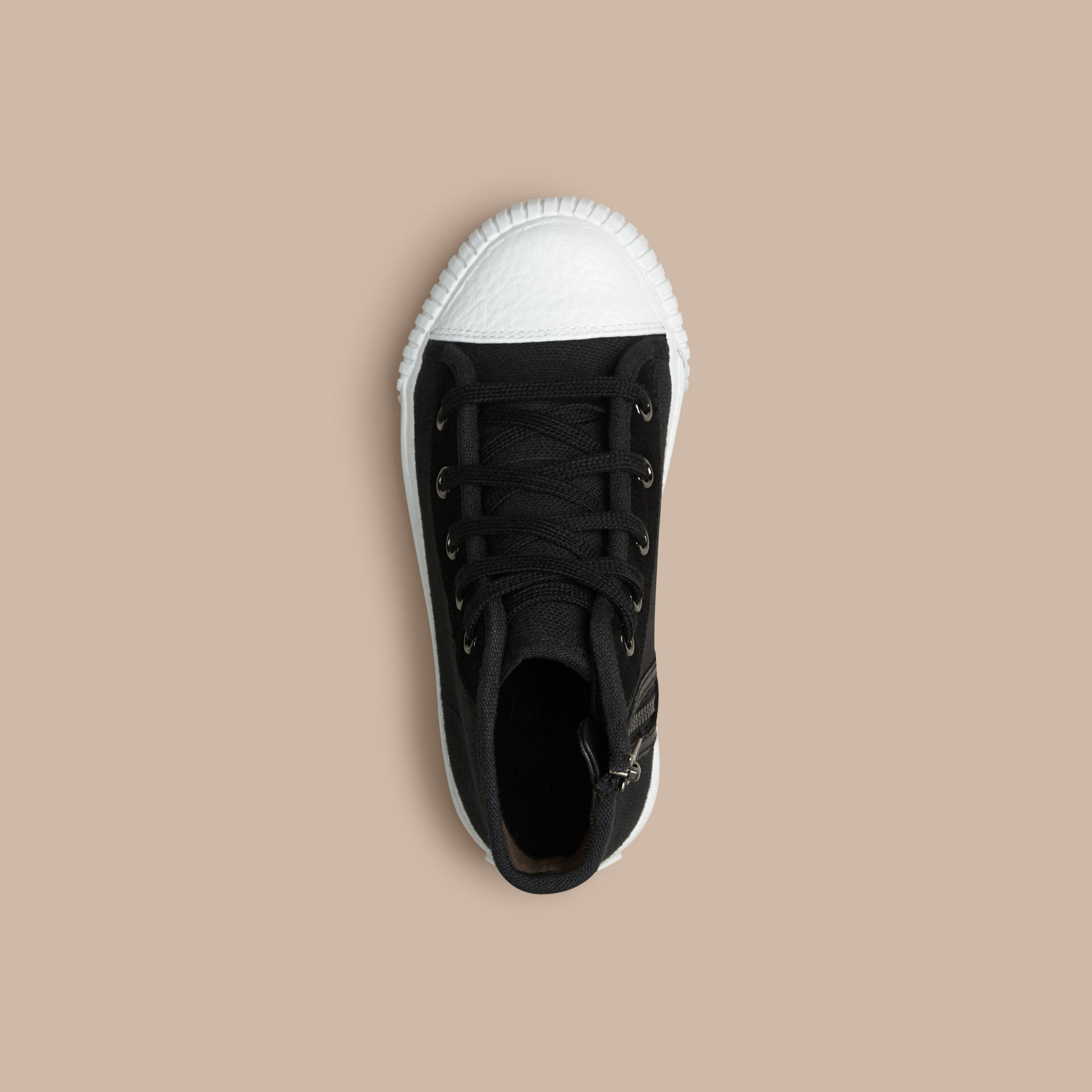 Black High-top Canvas Trainers - gallery image 2