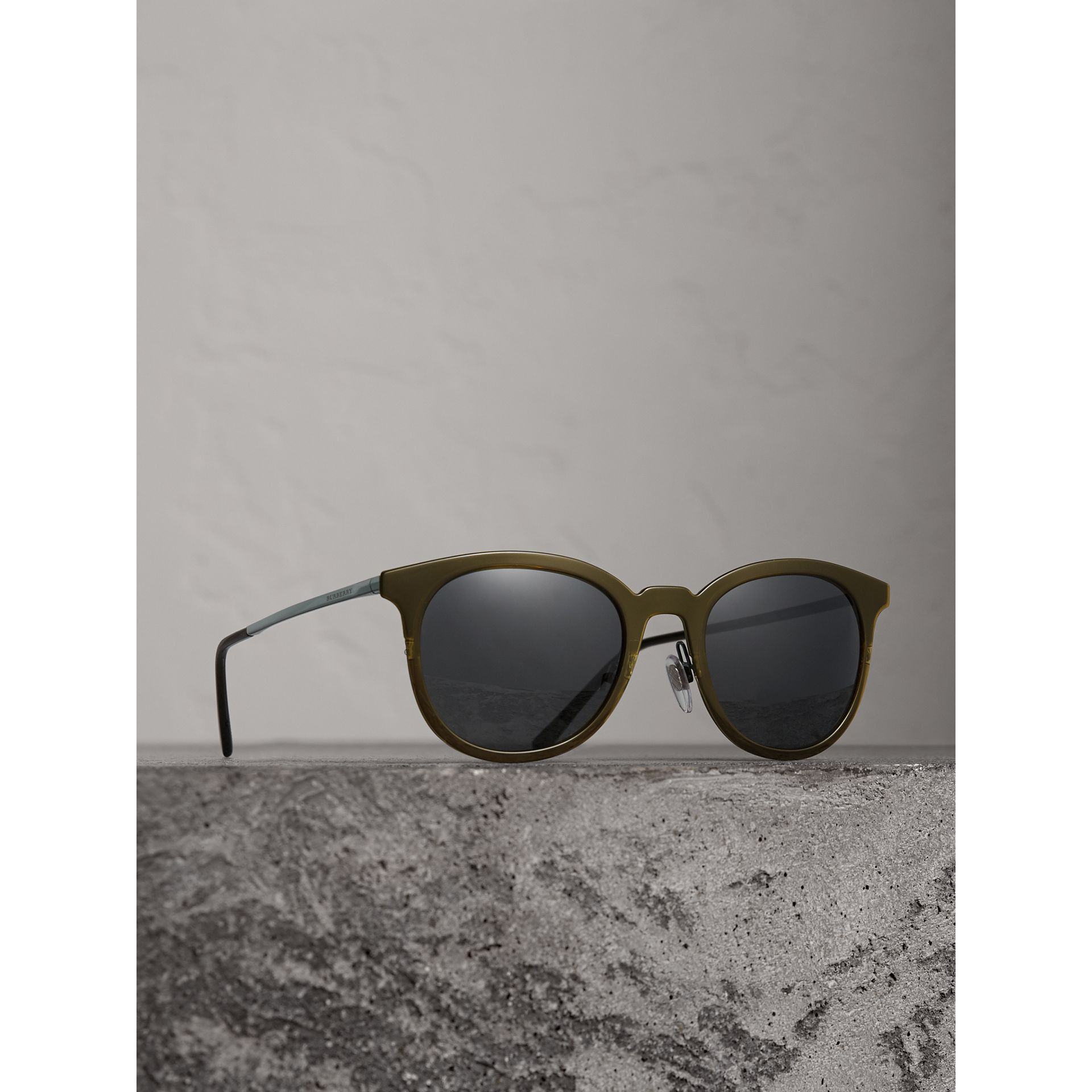 Round Frame Sunglasses in Dark Olive - Men | Burberry - gallery image 1