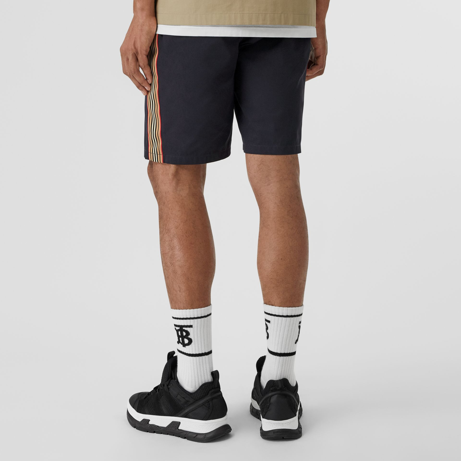 Icon Stripe Detail Cotton Twill Chino Shorts in Navy - Men | Burberry - gallery image 2