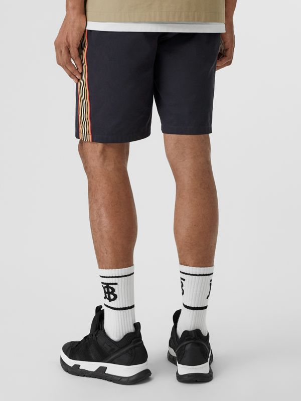 Icon Stripe Detail Cotton Twill Chino Shorts in Navy - Men | Burberry Singapore - cell image 2