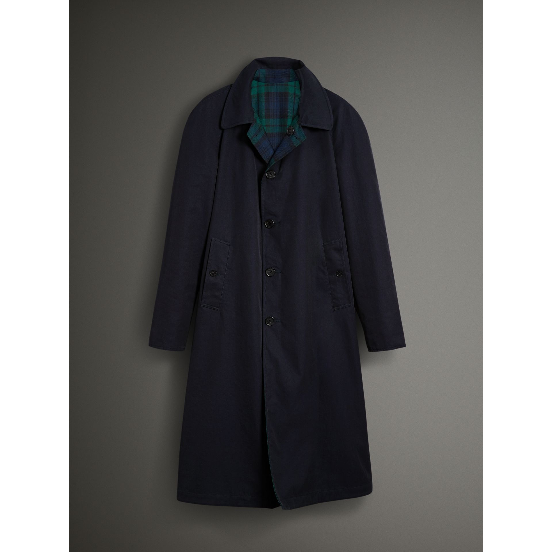 Reversible Tartan Wool and Cotton Gabardine Car Coat in Navy - Men | Burberry - gallery image 9