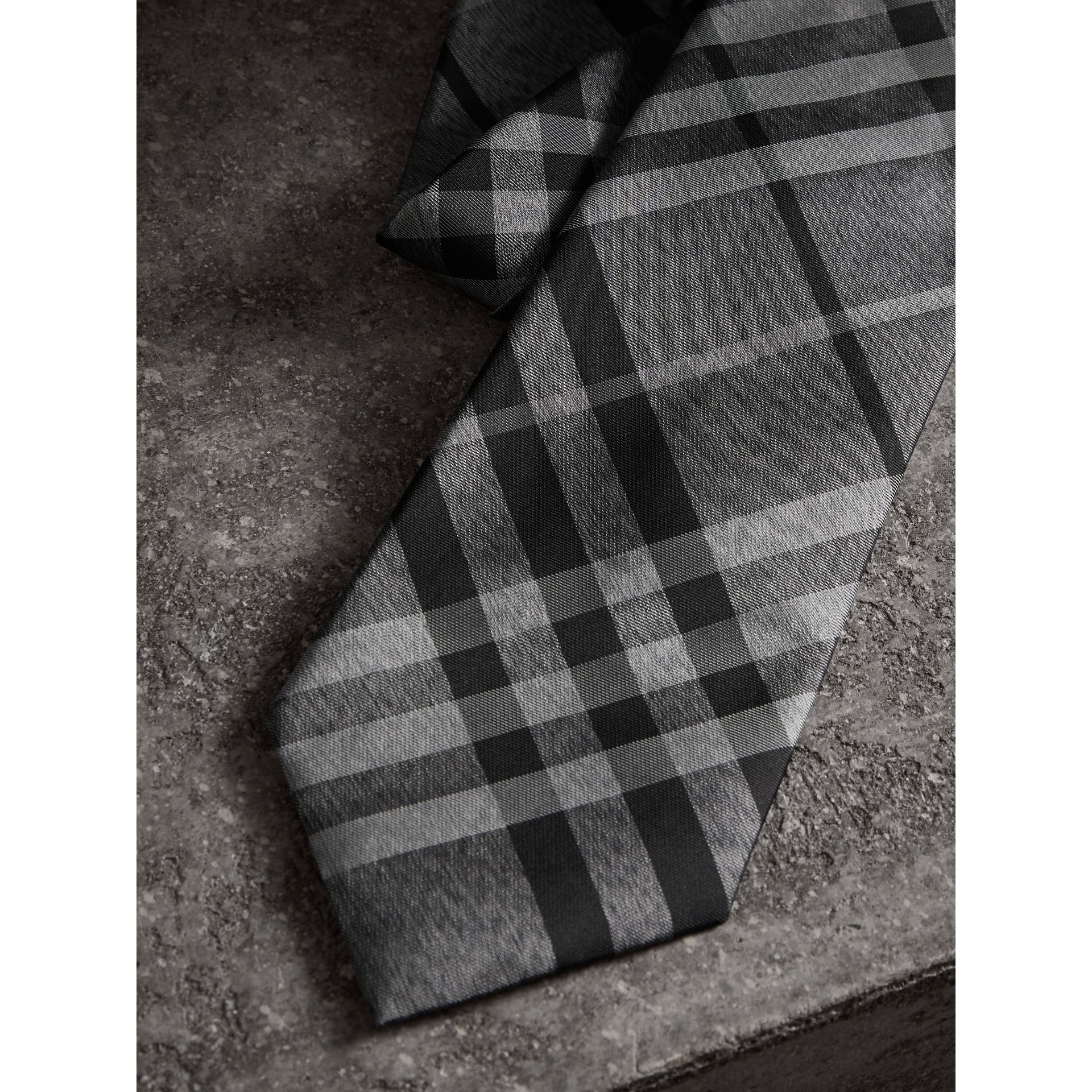 Classic Cut Check Silk Tie in Mineral Grey - Men | Burberry United States - gallery image 1