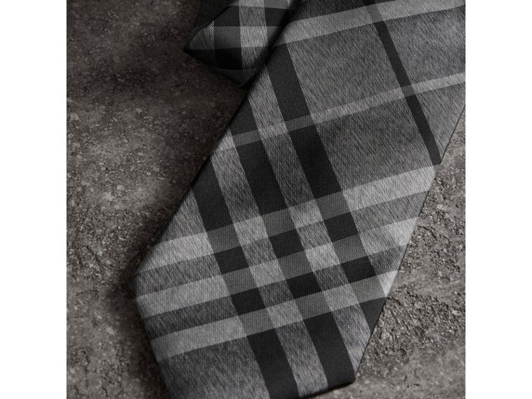 Classic Cut Check Silk Tie in Mineral Grey - Men | Burberry United States - cell image 1