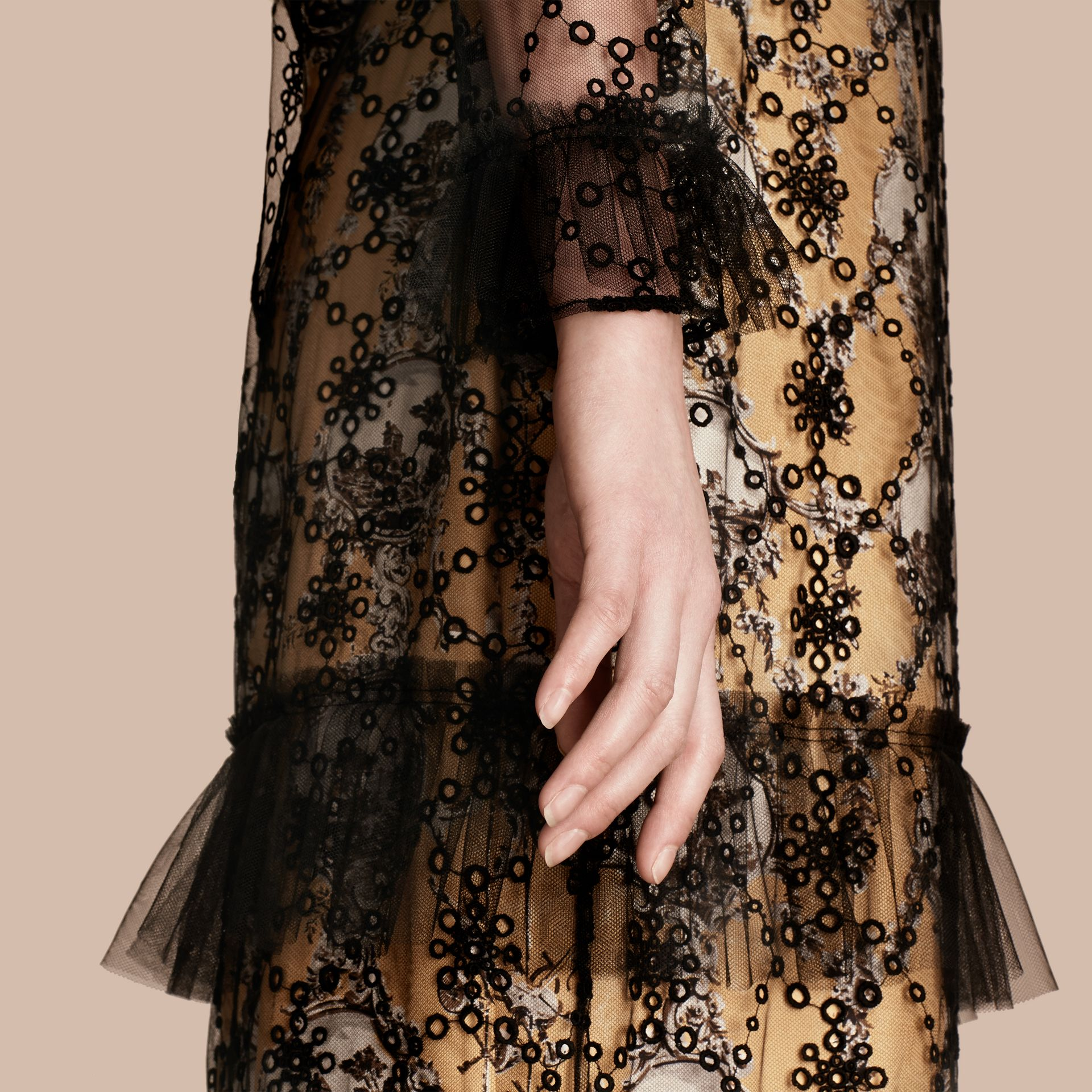Black Embroidered Tulle Dress with Printed Silk Lining - gallery image 6