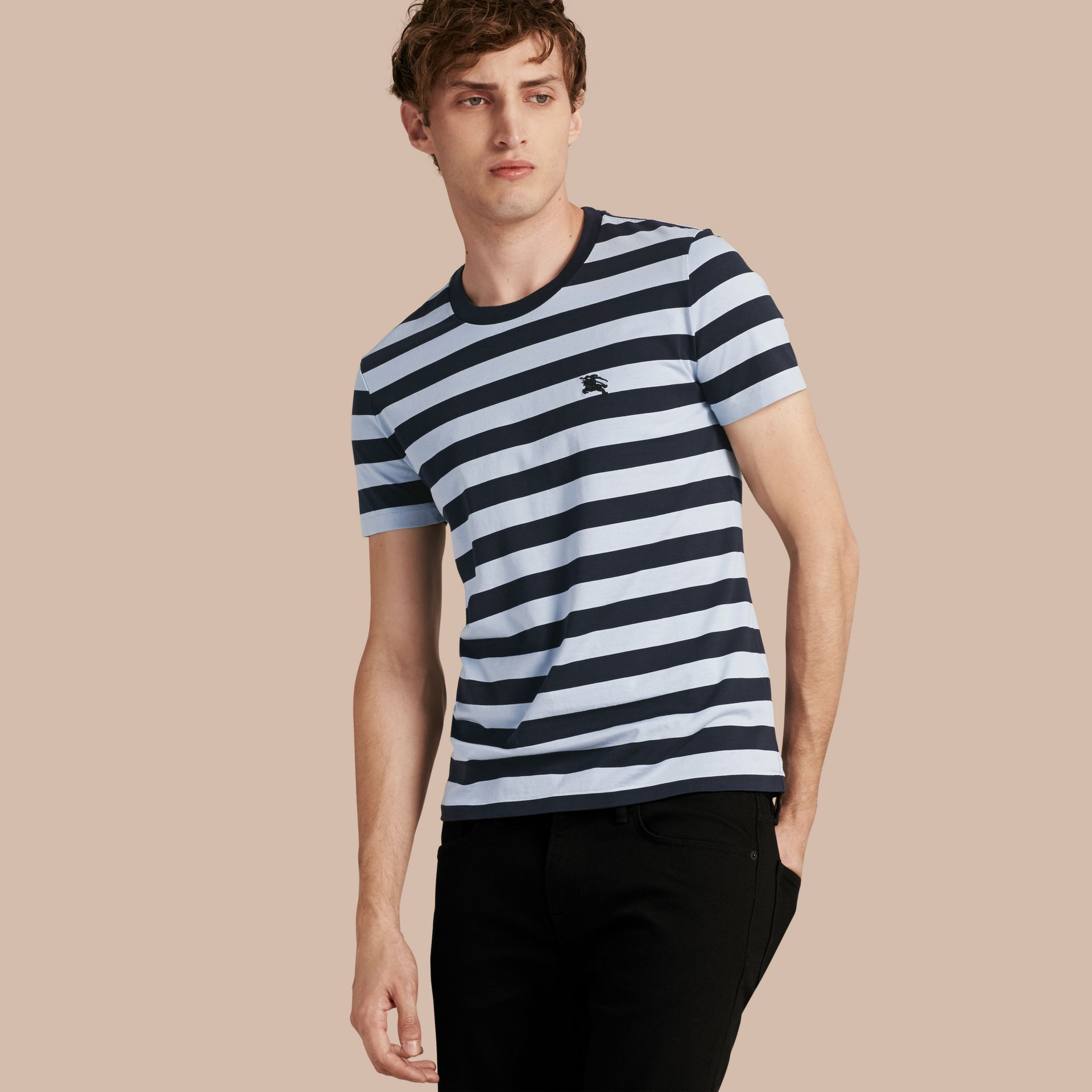 Navy Striped Cotton T-Shirt Navy - gallery image 1