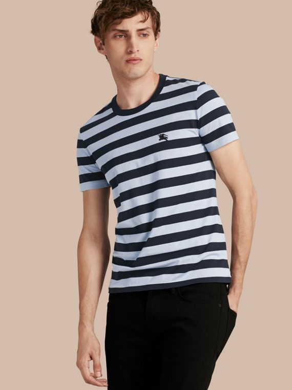 Striped Cotton T-Shirt Navy