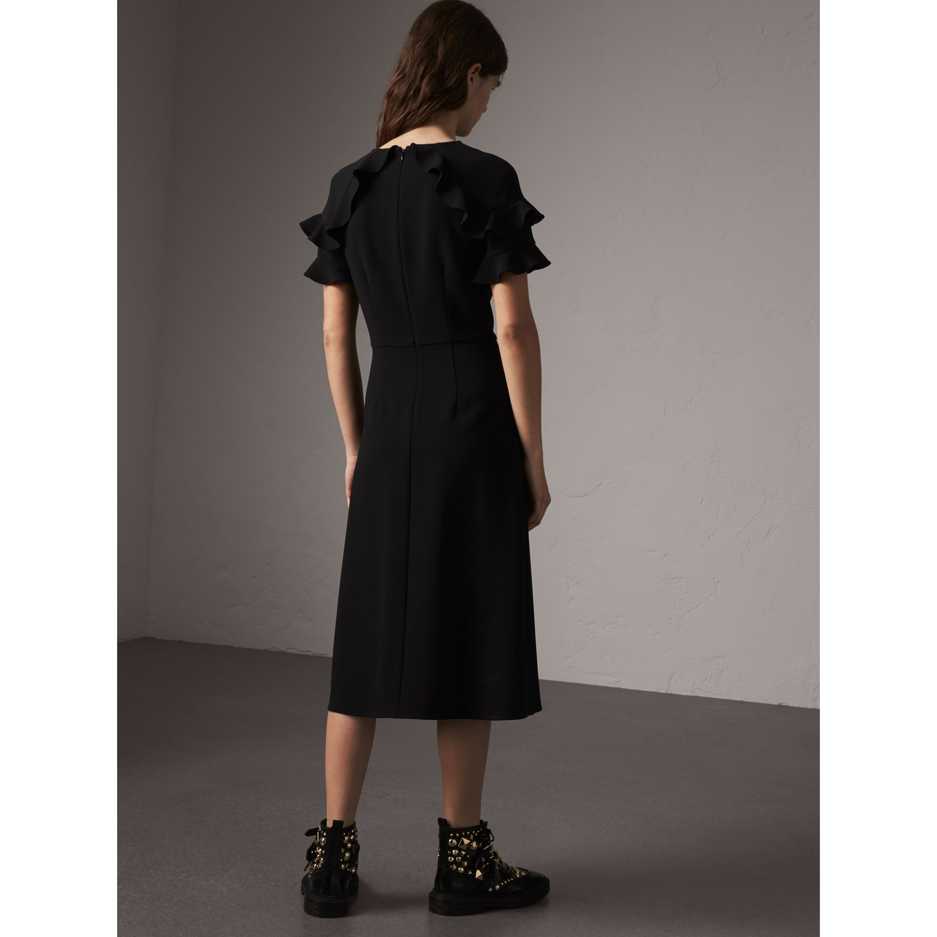 Ruffle Detail Short-sleeve Crepe Dress in Black - Women | Burberry - gallery image 2