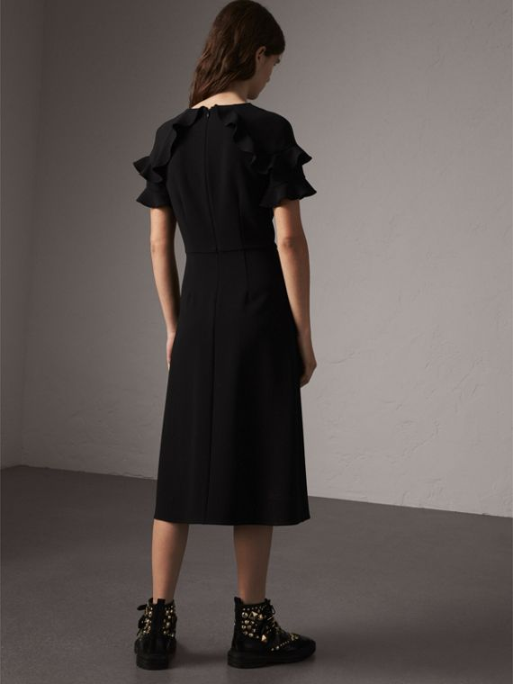 Ruffle Detail Short-sleeve Crepe Dress in Black - Women | Burberry - cell image 2