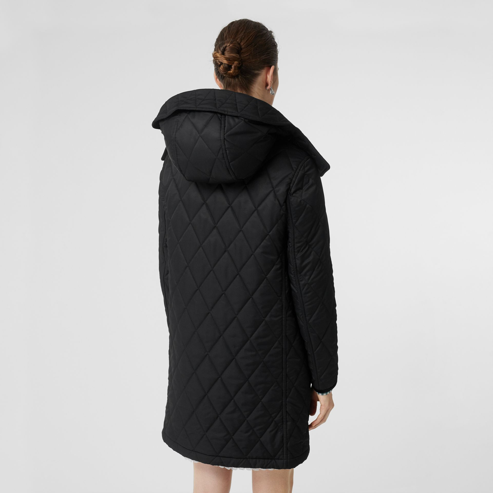 Detachable Hood Monogram Motif Quilted Coat in Black - Women | Burberry - gallery image 2