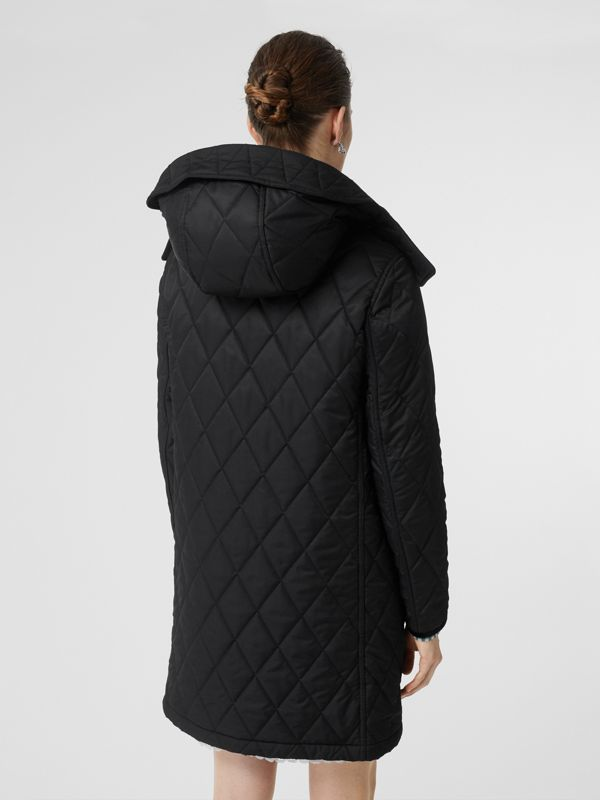 Detachable Hood Monogram Motif Quilted Coat in Black - Women | Burberry - cell image 2