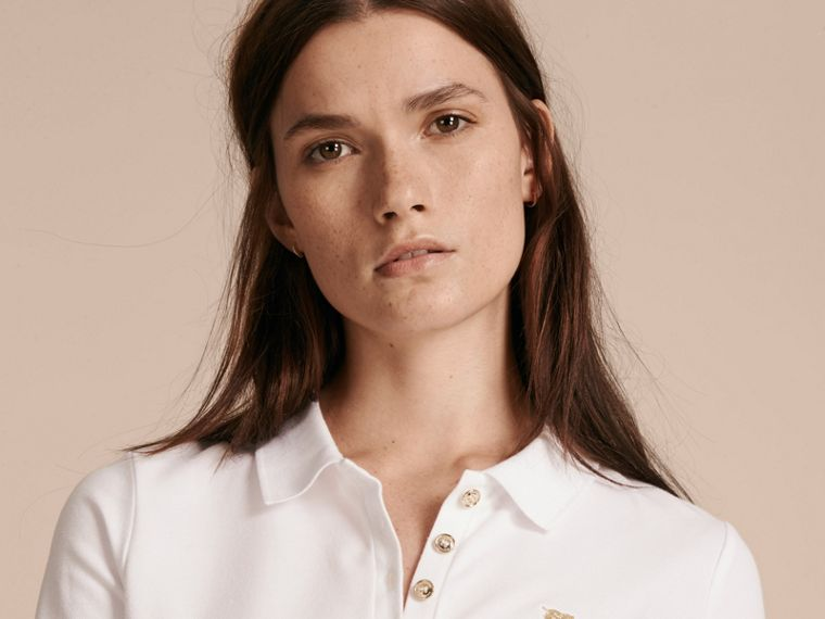Long-sleeved Stretch Cotton Piqué Polo Shirt in White - cell image 4