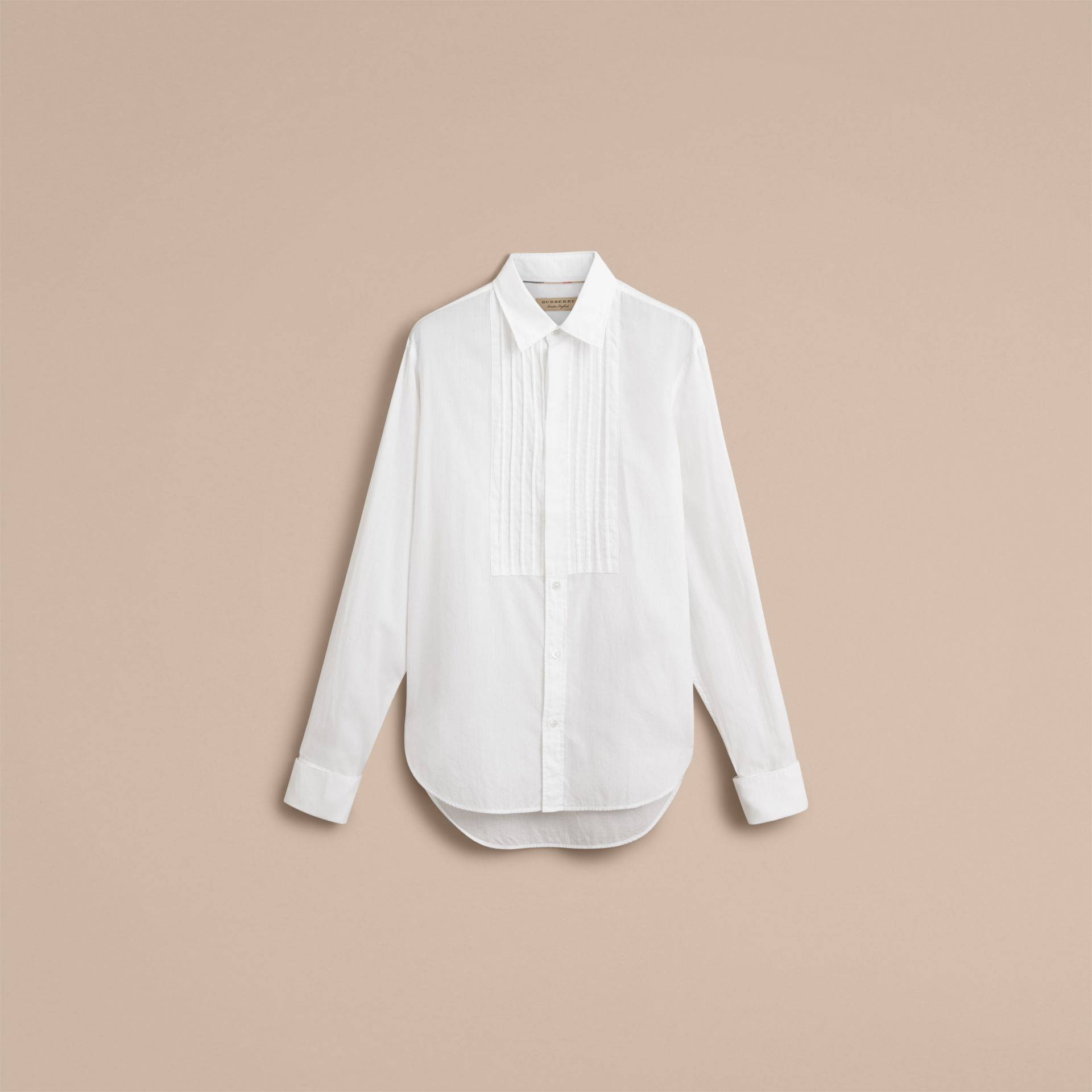 Unisex Double-cuff Pintuck Bib Cotton Shirt in White - Men | Burberry - gallery image 4