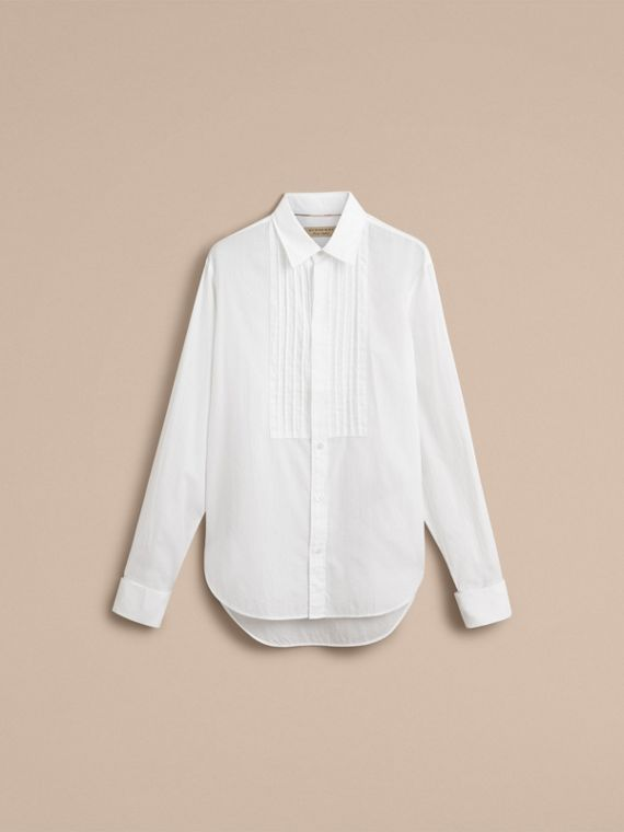 Unisex Double-cuff Pintuck Bib Cotton Shirt in White - Men | Burberry - cell image 3
