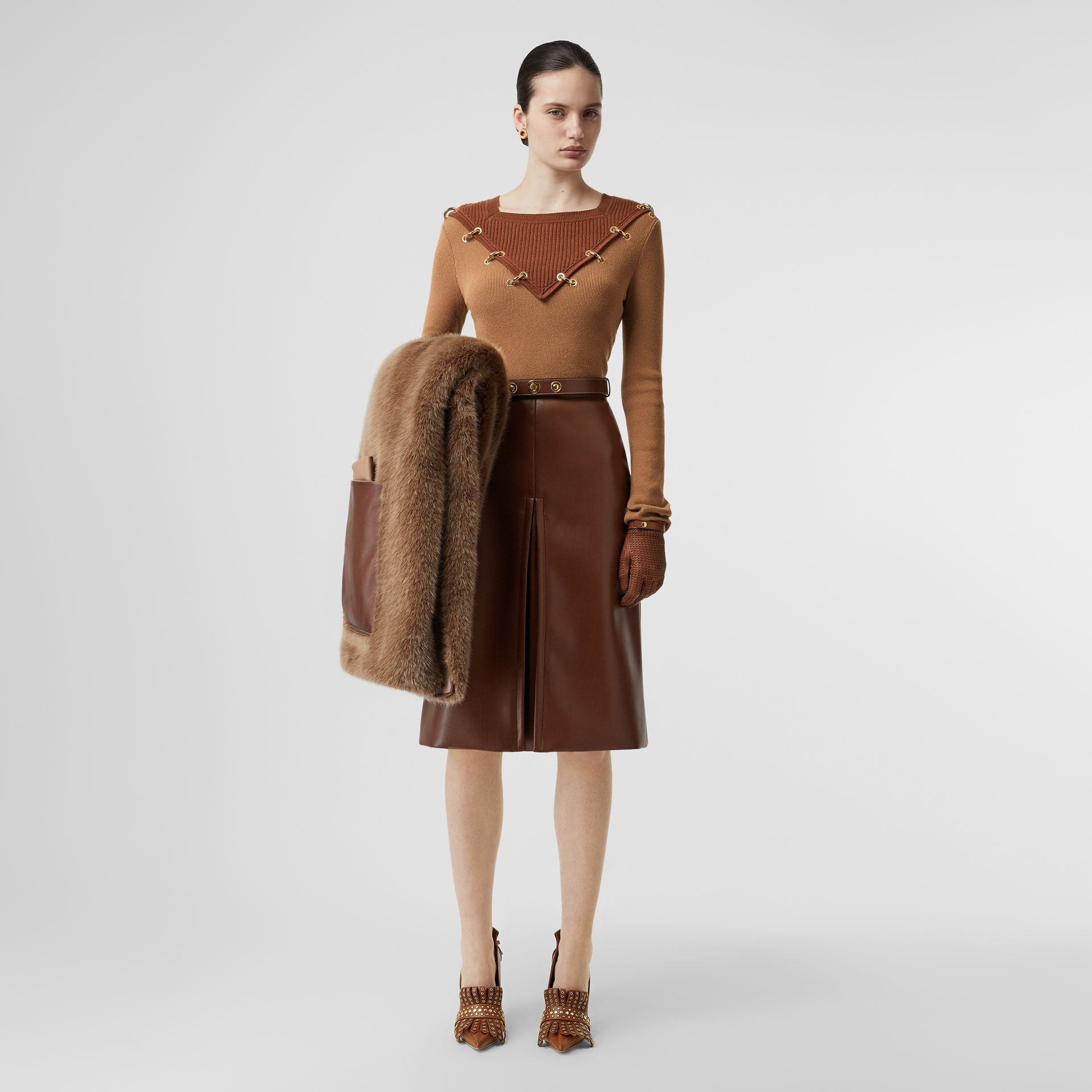 Faux Fur and Cashmere Stole in Camel - Women | Burberry - gallery image 5