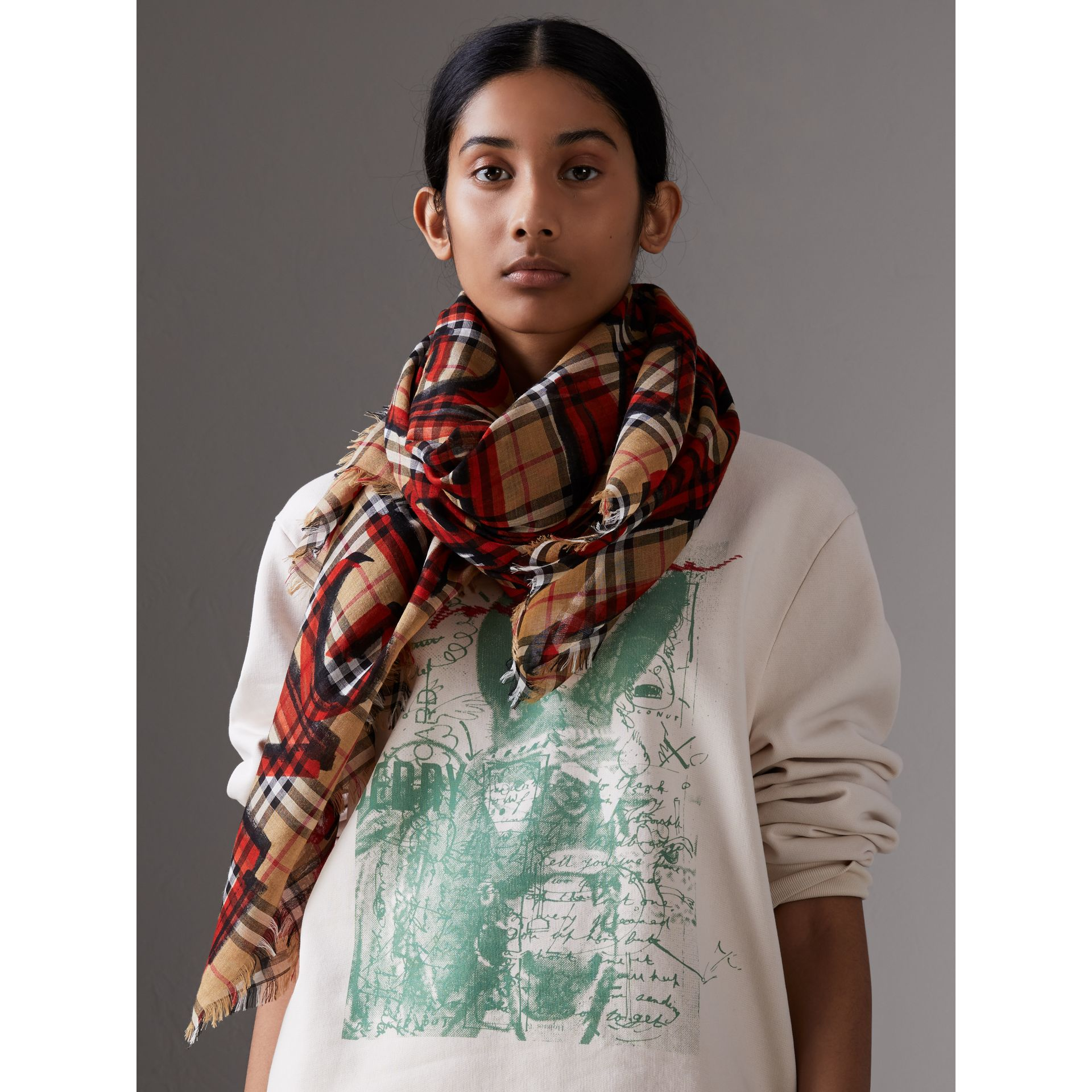 Graffiti Print Check Wool Silk Large Square Scarf in Bright Red | Burberry Singapore - gallery image 5