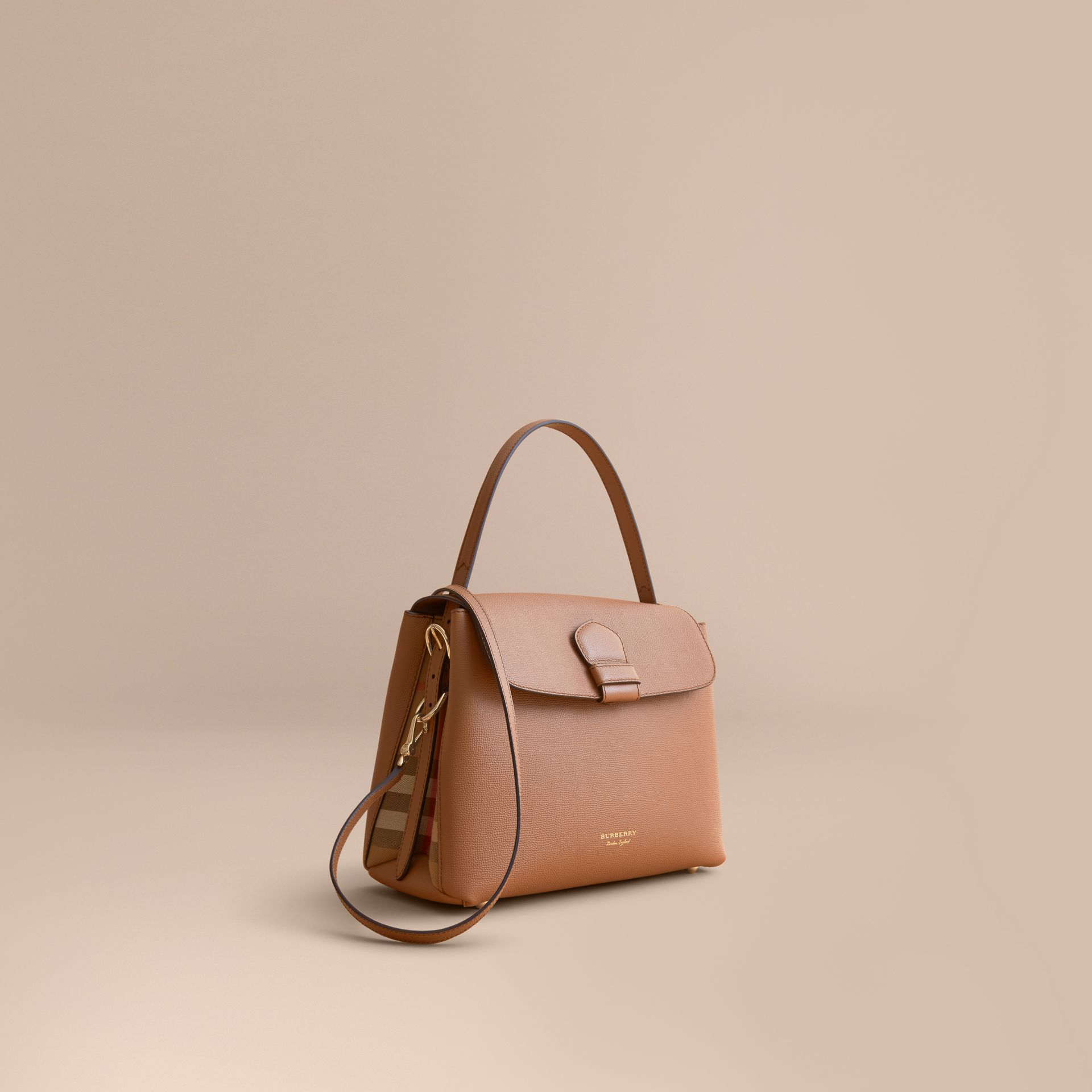 Medium Grainy Leather and House Check Tote Bag in Dark Sand - Women | Burberry - gallery image 1