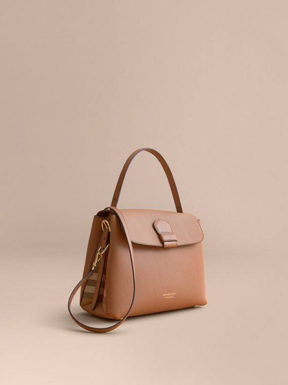 Medium Grainy Leather and House Check Tote Bag in Dark Sand - Women | Burberry