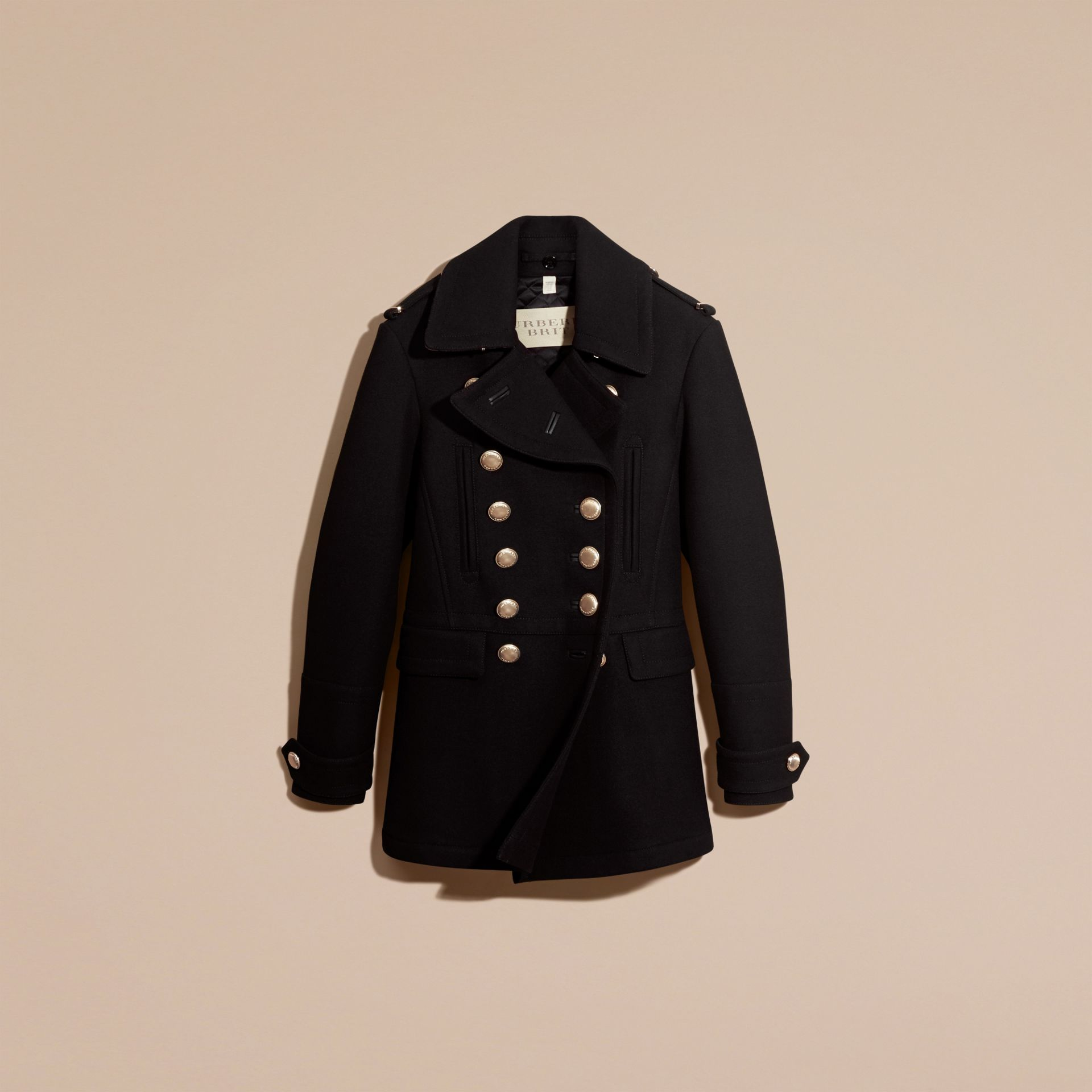 Black Wool Blend Military Pea Coat - gallery image 4
