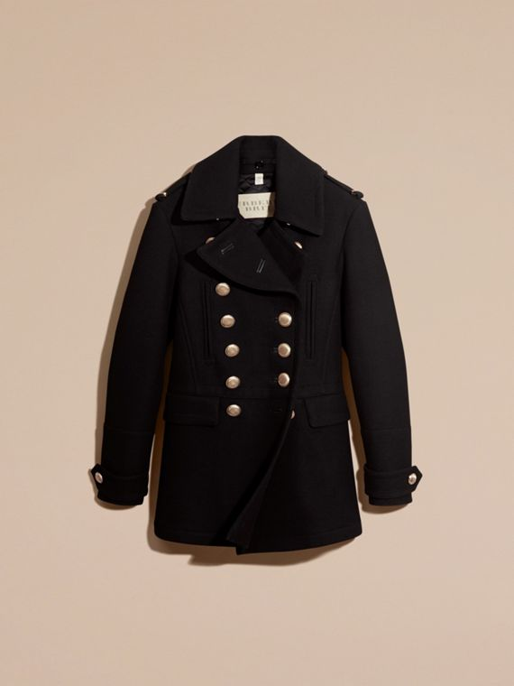 Nero Pea coat militare in misto lana - cell image 3
