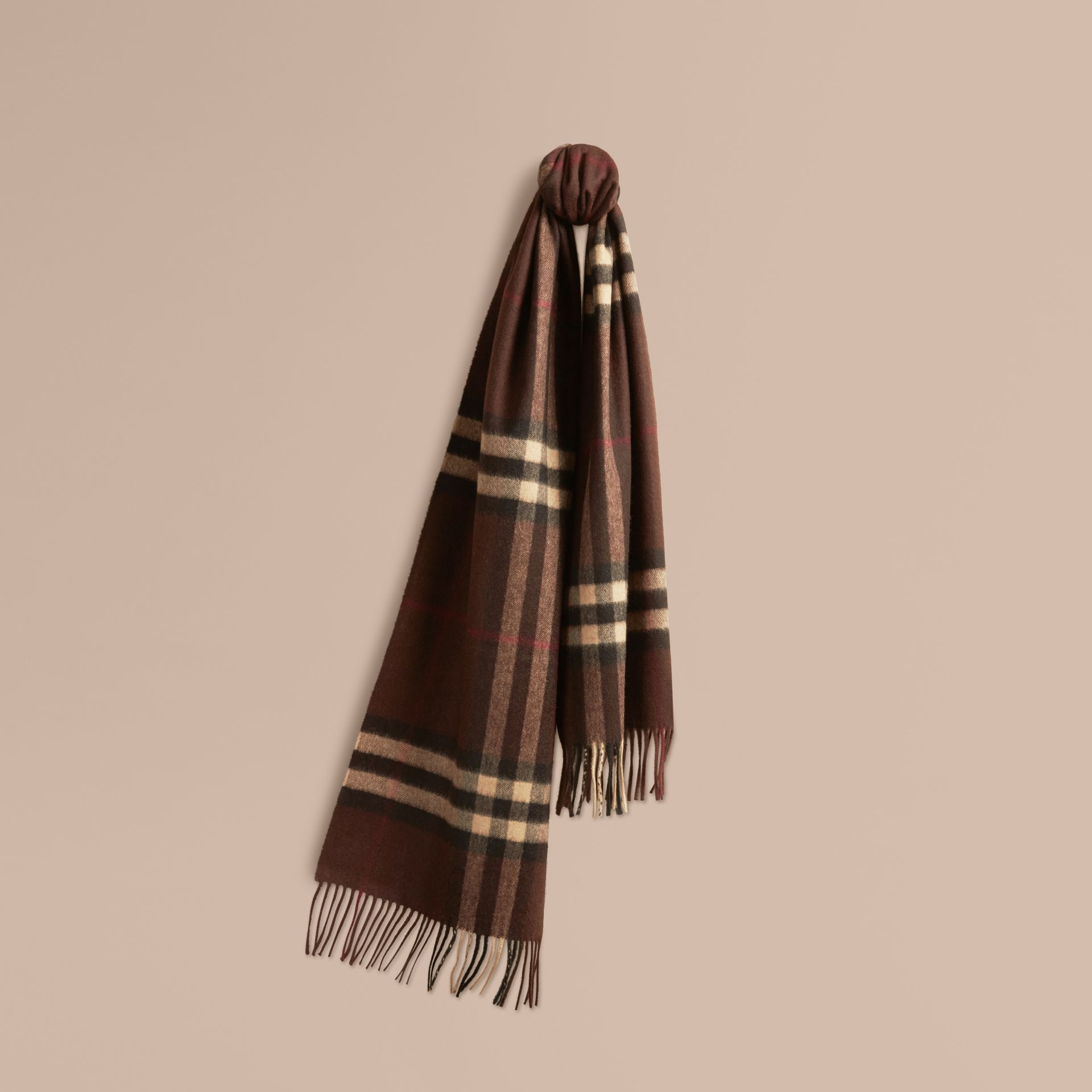 Dark chestnut brown check The Classic Cashmere Scarf in Check Dark Chestnut Brown - gallery image 6