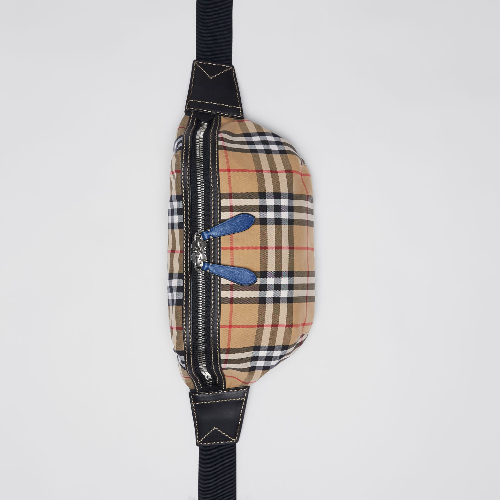 Medium Vintage Check Bum Bag in Canvas Blue - Men | Burberry Australia - gallery image 4