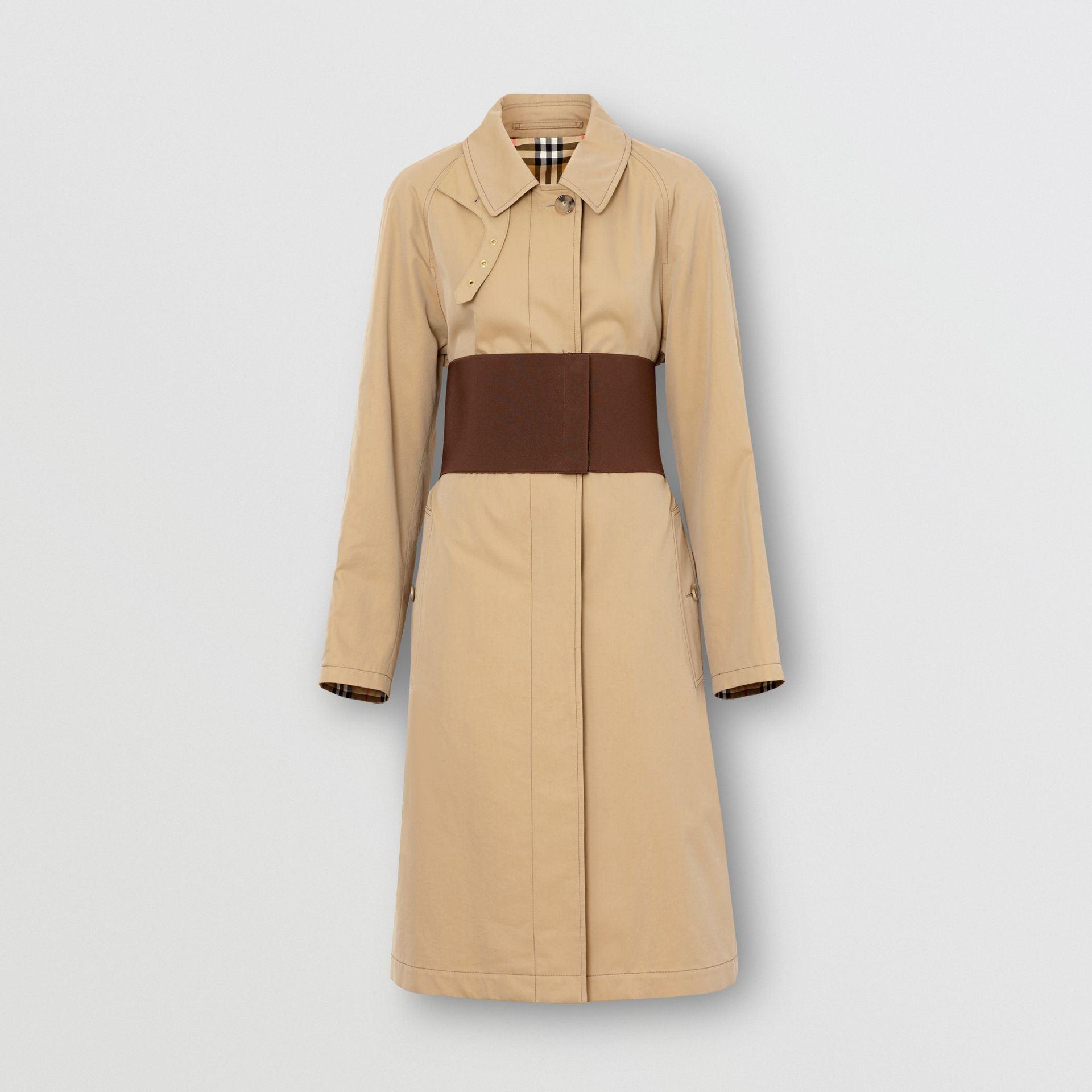 Corset-belt Cotton Gabardine Car Coat in Pale Honey - Women | Burberry - gallery image 3