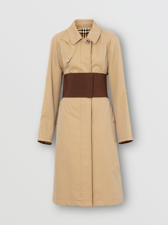 Corset-belt Cotton Gabardine Car Coat in Pale Honey