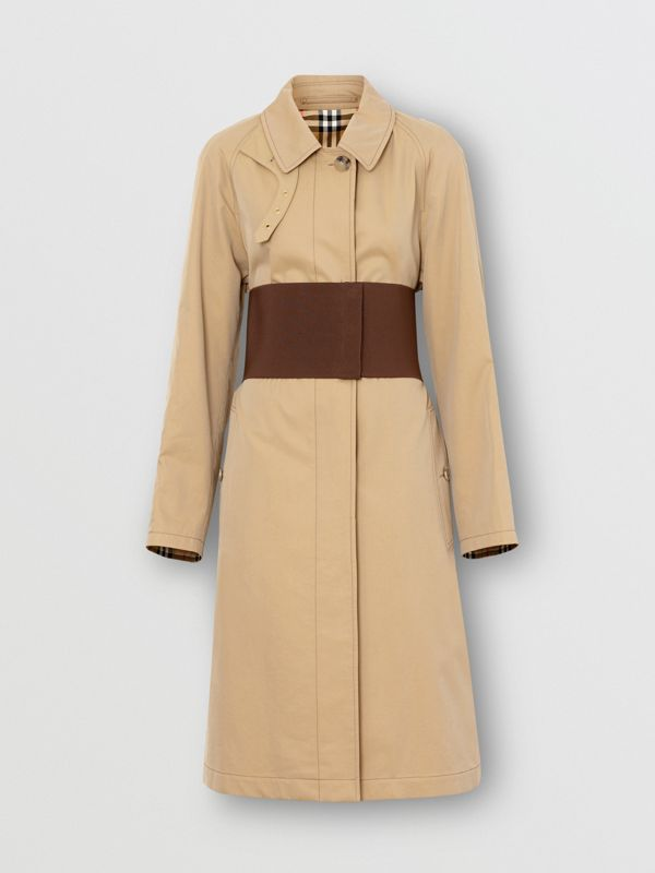 Corset-belt Cotton Gabardine Car Coat in Pale Honey - Women | Burberry - cell image 3