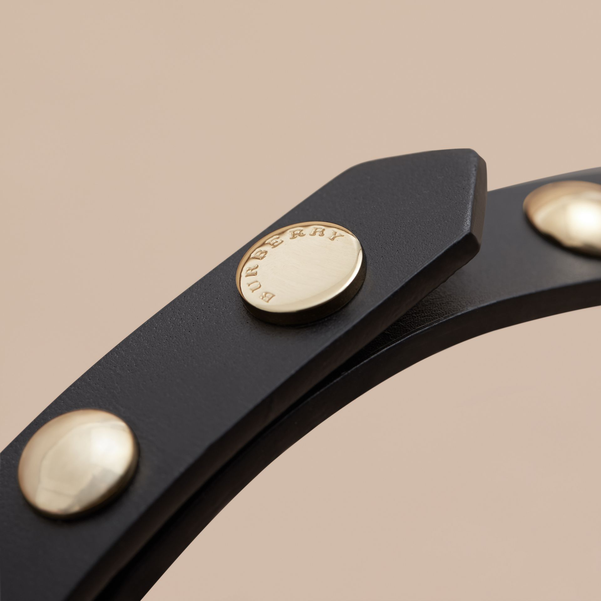 Studded Bridle Leather Double-wrap Belt in Black - gallery image 2
