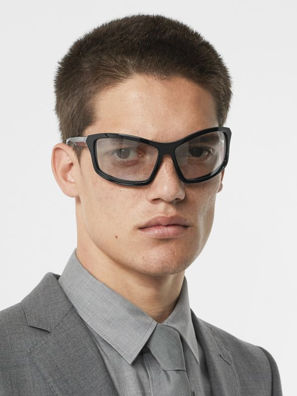 Wrap Frame Sunglasses in Black - Men | Burberry Singapore - cell image 2