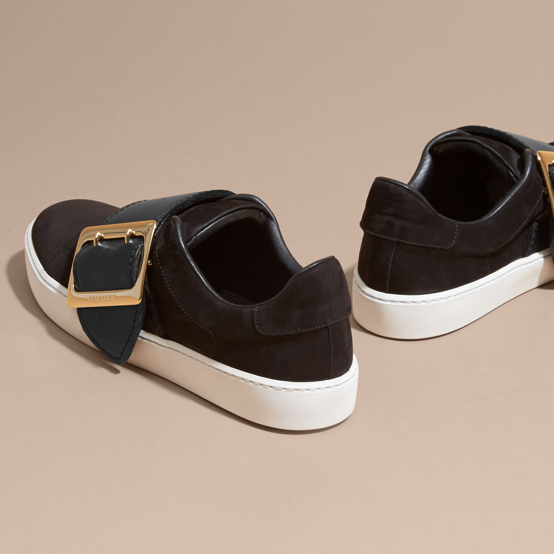 Oversize Buckle Detail Suede and Leather Trainers - gallery image 4