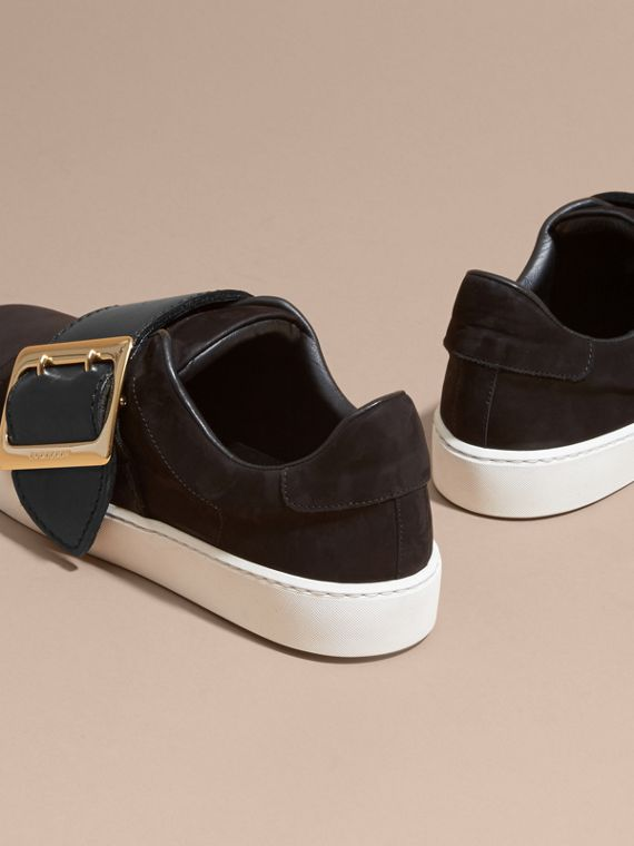 Oversize Buckle Detail Suede and Leather Trainers - cell image 3