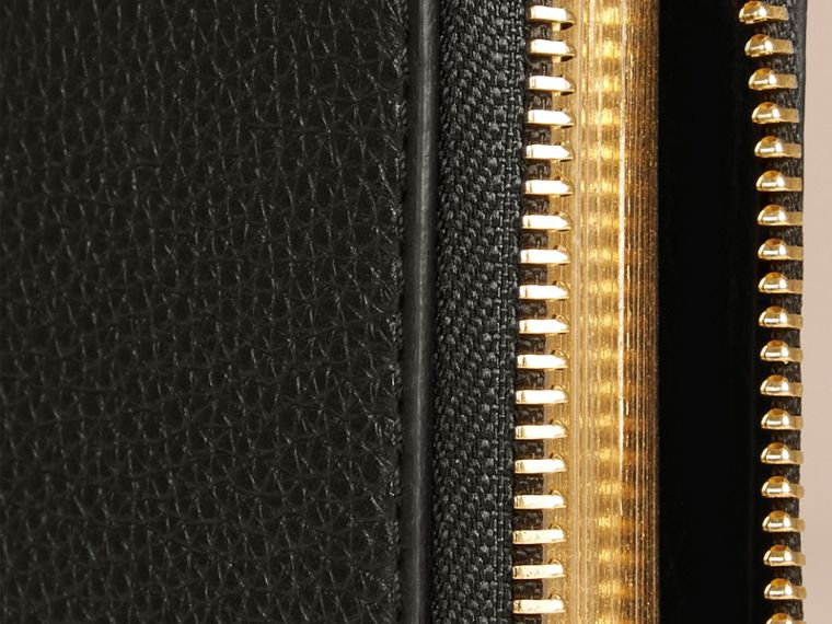 Black Ziparound Laser-cut Lace Detail Leather Mini Notebook - cell image 1