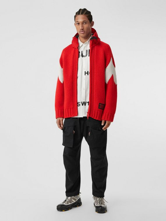 Detachable Hood Two-tone Wool Cashmere Jacket in Bright Red