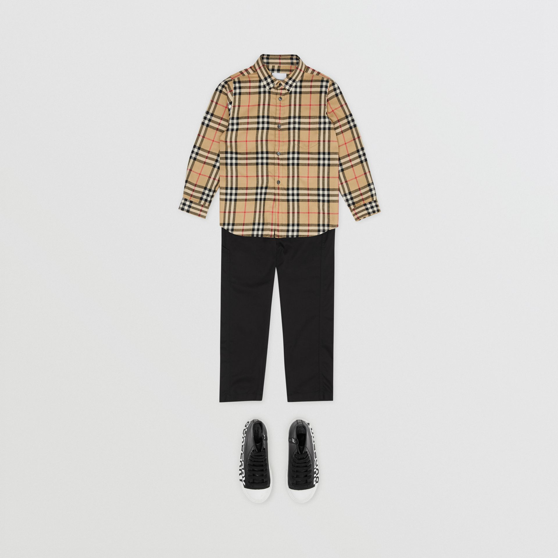 Vintage Check Cotton Flannel Shirt in Archive Beige | Burberry - gallery image 2