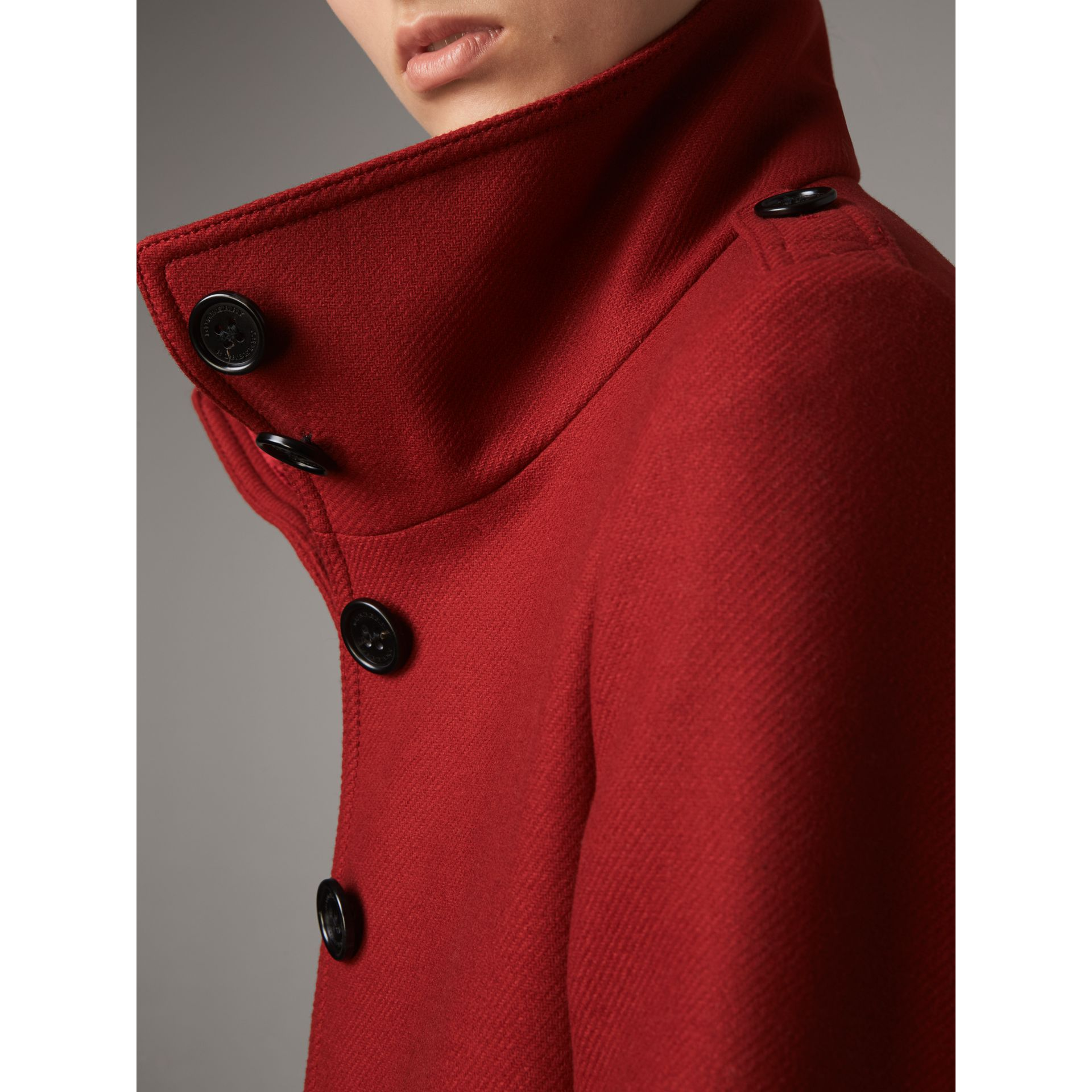 Technical Wool Cashmere Funnel Neck Coat in Damson Red - Women | Burberry - gallery image 2